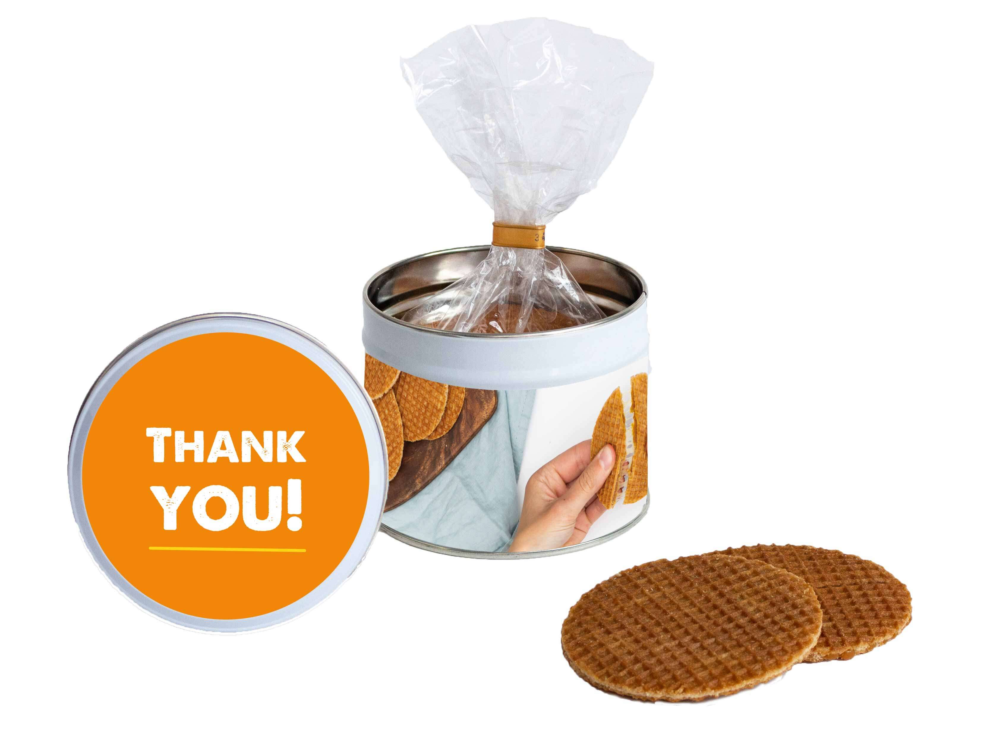 Stroopwafel cadeau blik Thank you