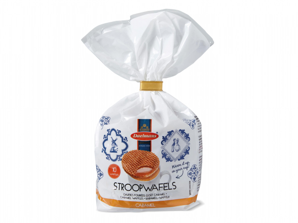 Caramel stroopwafels in clip bag