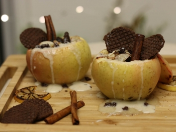 Baked Apple with Chocolate Stroopwafel Filling
